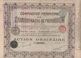 RUSSIE-CHARBONNAGES DE PROKHOROW. CIE FERMIERE DES... BRUXELLES - Acciones & Títulos