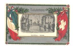Salutations - Frontière Franco-Suisse - VERRIERES  Douane - Carte Légèrement Structurée (524) - Zoll