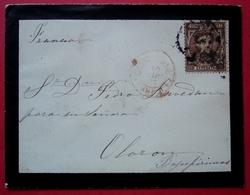 1877 Marque D'entrée Rouge Sur Une Lettre D'Espagne Pour Oloron, Joli Monogramme à L'arrière - Poststempel (Briefe)