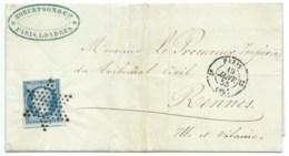 N° 14 BLEU NAPOLEON SUR LETTRE / PARIS POUR RENNES / 19 JANV 1855 - 1849-1876: Classic Period