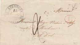 LETTRE. 15 DEC 41. T12 SELONGEY COTE D'OR. BOITE RURALE E. DECIME RURAL. POUR BIZE. TAXE PLUME 2 - 1801-1848: Voorlopers XIX