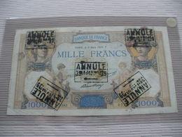 BILLET 1000F CERES ET MERCURE TAMPONNE ANNULLE RARE - 1 000 F 1927-1940 ''Cérès E Mercure''