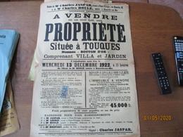 """TOUQUES LE 13 DECEMBRE 1922 A VENDRE PROPRIETE NOMMEE """"BOUTON D'OR"""" VILLA ET JARDIN  62cm/42cm - Posters"""