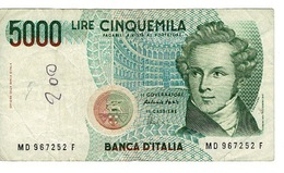 Billet Italie - BANCA D'ITALIA  5000 Lire Cinquemila - 4 Gennaio 1985 - [ 2] 1946-… : Repubblica