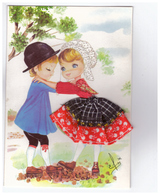 Carte Brodée Fantaisie Couple Illustration Illustrateur Elsi Costume Folklore Broderie Les éditions Vacances CPM - Brodées