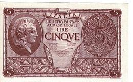 Billet Italie - BIGLIETTO DI STATO Cinqve Lire 1944 - [ 2] 1946-… : Repubblica