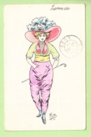 MILLE - Suprême Chic - Madame En Pantalon Rose Et Sa Canne - 2 Scans - Mille