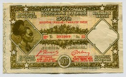 Belgique Congo Belge Billet De 50 Francs Loterie Coloniale 12 ème Tranche 1937 - Lottery Tickets