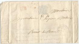 FAIR PART MARIAGE LETTRE FORCALQUIER 24 MARS 1845 + PP ROUGE + TAXE 1 AU DOS + VOLONNE - Marcophilie (Lettres)