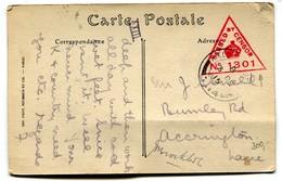 CP Ypres Oblit. Field Post Office B3 De 15 Censor 1301 1915 - War 1914-18