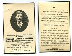 Faire-part Décès Fernand Désiré Carlier Membre De L'armée Secrete Hornu - St-Ghislain 1945 - 1939-45