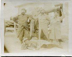 Grande Photo Cartonné De 4 Soldats Francais Posant Avec Leurs Gros Canon En 14-18 - War, Military