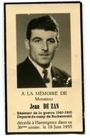 Faire-part Décès Jean De Zan Résistant Déporté Buchenwald Harmignies - 1939-45