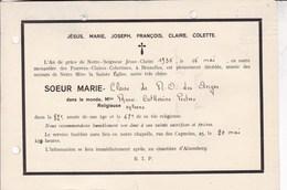 ALSEMBERG Soeur Marie-Claire PEETERS 82 Ans 1935 Religieuse Pauvres-Claires-Colettines à Bruxelles A5 Horizontal - Obituary Notices