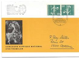 """206 - 30 - Enveloppe """"Concours Hippique D'après Dessin Erni"""" Oblit Péciale """"Concours Hippique Tramelan 1966"""" - Postmark Collection"""