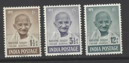 India - 1948 - Nuovo/new MH - Mahatma Gandhi - Mi N. 187/89 - 1947-49 Dominion