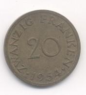20 FRANKEN SARRE 1954 - Saarland