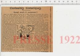 Presse 1922 Le Cuisinier Vatel Et Gourville En Cuisine Dîner à Chantilly Après La Bataille Rocroi Prince De Condé CHV30 - Zonder Classificatie