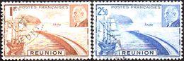 Réunion Obl. N° 178 Et 179 - Maréchal Pétain - Rade De Saint Denis - Réunion (1852-1975)