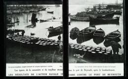 Beyrouth Après Bombardement  - Guerre Turco-Italienne  -  2 Coupures De Presse (encadré Photo) De 1912 - Historical Documents