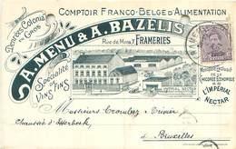 Belgien -Frameries Rue De Mons 7 -A.Menu & A.Bazelis-Denrees Colonia En Gros -Gel. - Frameries