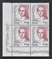 ITALIA REPUBBLICA 2003 DONNA NELL'ARTE € 0,41 DENT. 14 1/4 X 13 1/4 QUARTINA MNH ANGOLO FOGLIO SASSONE N. 2678A - 2001-10: Mint/hinged