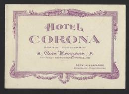 HOTEL CORONA * GRANDS BOULEVARDS * CITE BERGERE * PARIS * 3 SCANS * PLIE 13 X 9 CM - Pubblicitari