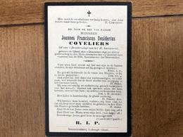 Coveliers Joannes Franciscus Desiderius Coveliers *1846 Geel +1910 Geel Stoomdrukkerij Lahongh Lid Broederschap H.sacram - Esquela