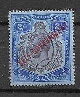 1922 MH Malta Michel 75 (wmk Block CA) - Malta