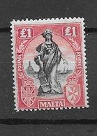 1922 MH Malta Michel 96bY Wmk Sideways - Malta
