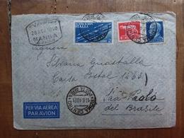 REGNO - Posta Aerea - Aerogramma Spedito In Brasile - Annulli Retro + Spese Postali - 1900-44 Victor Emmanuel III