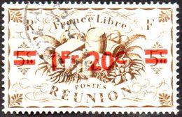 Réunion Obl. N° 255 - Détail De La Série De LONDRES Surchargé En 1945 - Productions - 1fr20 Sur 5 C Sépia - Oblitérés