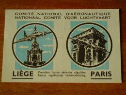 LIEGE - CARTE PREMIER JOUR LIAISON LIEGE PARIS - AVIATION - SABENA - Liege