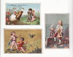 Chromo  TOILERIE PICANDET  à Besançon    Lot De 3    Enfants, Poussin, Sculpture, Papillon   11.6 X 7.4 Cm Le Plus Grand - Altri