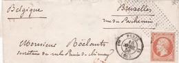 France - Y&T 16 Obl. Roulette De Pointillés Fins Sur Pli Vers Bruxelles - 1849-1876: Période Classique