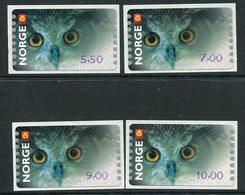 NORWAY 2002 Owl, Philatelic Bureau Issue.  MNH / **.  Michel 5 So 1-4 - Vignettes D'affranchissement (ATM/Frama)