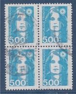 = Marianne De Briat Dite Du Bicentenaire Bloc De 4 Oblitéré 5f Bleu Vert N°2625 - 1989-96 Maríanne Du Bicentenaire
