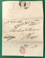 1840 ANCONA SANITA' 2 BOLLI PER PESARO - ...-1850 Préphilatélie