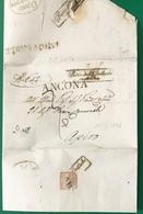 1836 ANCONA SANITA'  OSIMO DISINFETTATA  TAGLI PER APIRO - 1. ...-1850 Prefilatelia