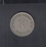 Dt. Reich 10 Pfennig 1876 G - [ 2] 1871-1918: Deutsches Kaiserreich