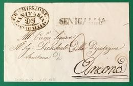1836 SENIGALLIA SANITA' PER ANCONA - 1. ...-1850 Prefilatelia