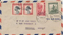 BELGIAN CONGO AIR COVER FROM KABINDA 1946 TO PERUWELZ - 1923-44: Storia Postale
