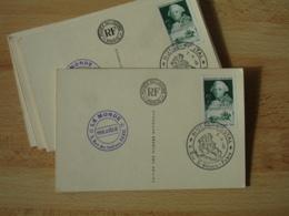Lot De 12  Musee Postal 1949 Obliteration Timbre Choiseul  Obliteration Sur Carte Musee Du Louvre - Marcophilie (Lettres)