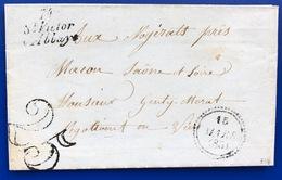 1853 Lettre Saint Victor L Abbaye Pour Macon Cachet Ligne Du Havre Seine Inferieure - 1849-1876: Klassieke Periode