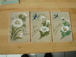 Lot De 7 Cpa Belle Carte Fantaisie Peinte Theme Marguerite - Fantasie