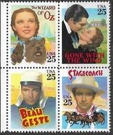 US  1990  Sc#2448a  25c Classic Films Block MNH - United States