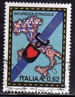 ITALIA REPUBBLICA ITALY REPUBLIC 2004 CAMPAGNA PER LA SICUREZZA STRADALE  € 0,62 USATO USED OBLITERE' - 2001-10: Usati