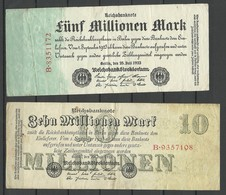 Germany Deutschland 1923 = 5 000 000 & 10 000 000 Mark Bank Notes - [ 3] 1918-1933: Weimarrepubliek