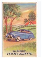 Luxembourg Esch Sur Alzette - Un Bonjour Carte à Système Complète 10 Vues Illustration Voiture + Timbre Cachet 1952 - Esch-Alzette