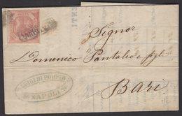 Italie : Pli Des Deux Sicile De 1859 Affranchi à 2 Gr Oblt [ANNULATTO]  + Au Verso Rouge ( PARTENZA DA NAPOLI) P BARI - Naples